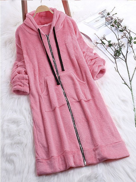 Velvet Candy Color Drawstring Zipper Pockets Women Oversized Long Hooded Coat