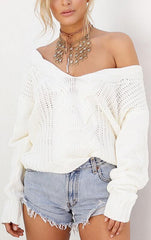 Bubble Hollow Out Long-Sleeved Sweater - Oh Yours Fashion - 2