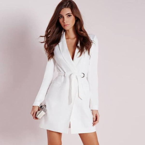 Plain Tie Waist Wrap Blazer Dress