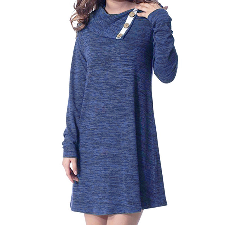 Lapel Buttons Solid Color Women Loose Short Dress