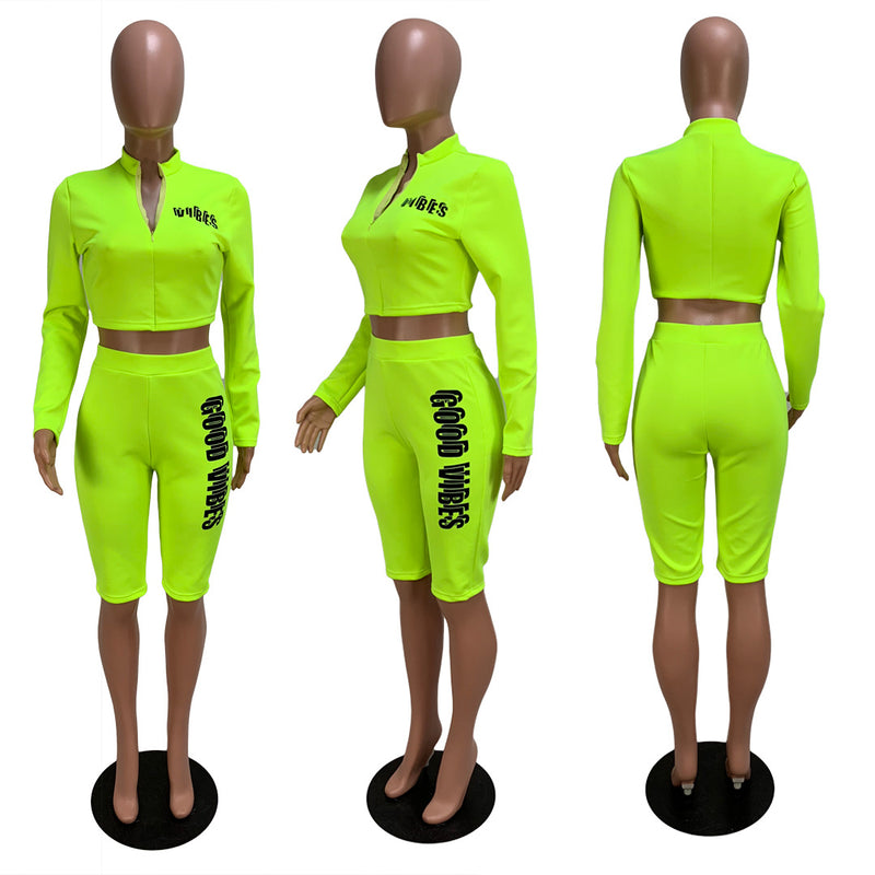 Fluorescent Letter Print Zipper Crop Top High Waist Knee-length Shorts Women Two Pieces Set