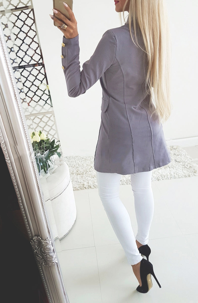 Stand Collar Buttons Women Slim Blazer Coat