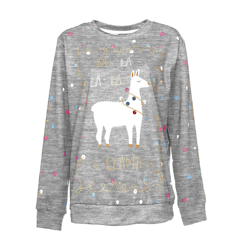 Scoop Christmas Alpaca Print Women Loose Sweatshirt