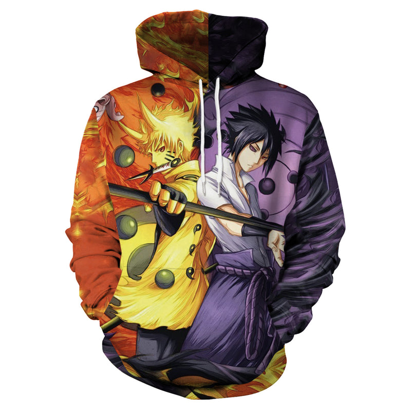 Drawstring 3D Cartoon Print Men Loose Pocket Hoodie