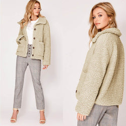 Buttons Lapel Solid Color Big Pockets Women Teddy Coat