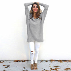 Fashion V-Neck Long-Sleeve Sweater - Oh Yours Fashion - 1