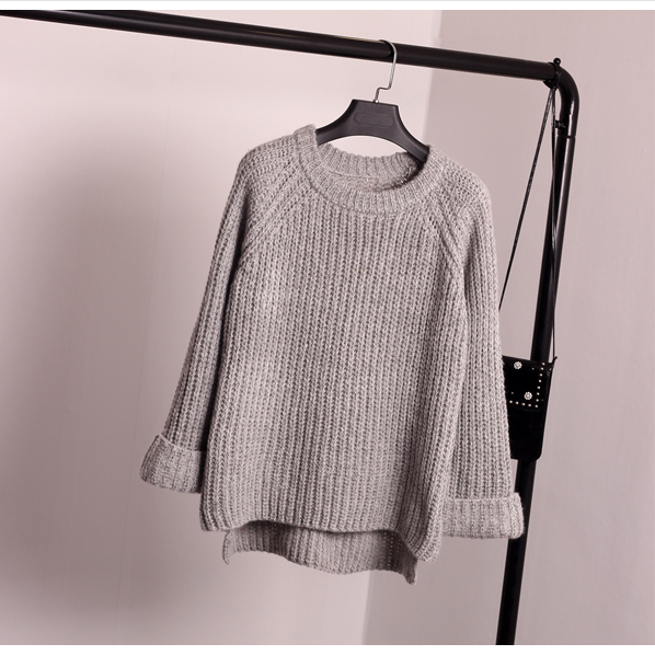 Korean Style Loose Spiit Knit Pullover Solid Color Sweater - Oh Yours Fashion - 1
