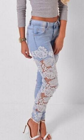 Lace Patchwork Hollow Low Waist Straight Hot Jeans - Meet Yours Fashion - 2