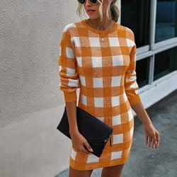 Autumn Plaid Sweatshirt Dress