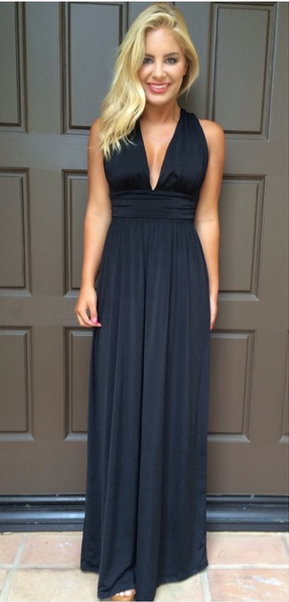 V-neck Cross Backless Sleeveless Long Dress - Oh Yours Fashion - 2