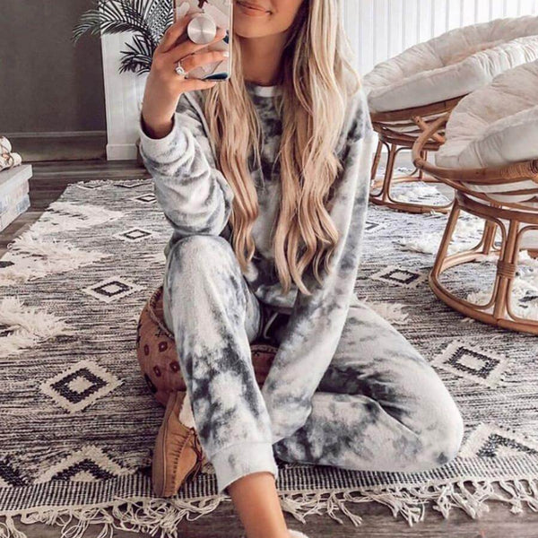 Home Tie Dye Loose High Waist Long Sleeve Two Pieces Set