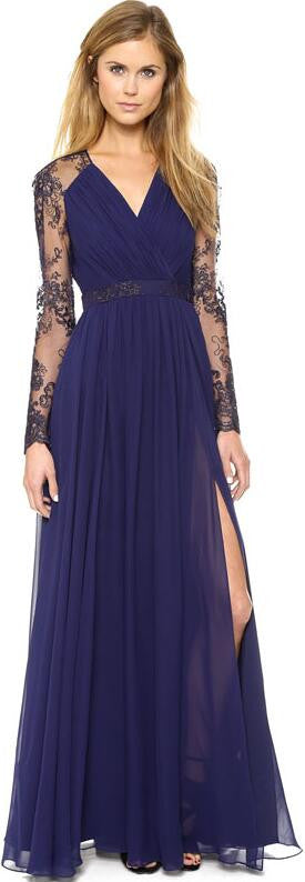 Beautiful Chiffon Lace Patchwork Deep V Neck Long Party Dress - Oh Yours Fashion - 1