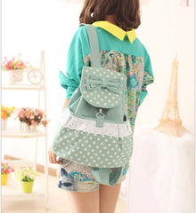 Sweet Polka Dot Lace Bowknot School Backpack Travel Bag - Oh Yours Fashion - 6
