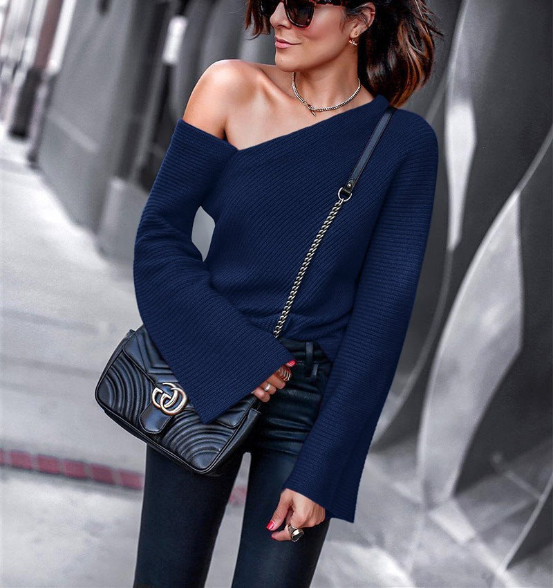 Bare Shoulder Bell Sleeves One Shoulder Women Loose Sweater