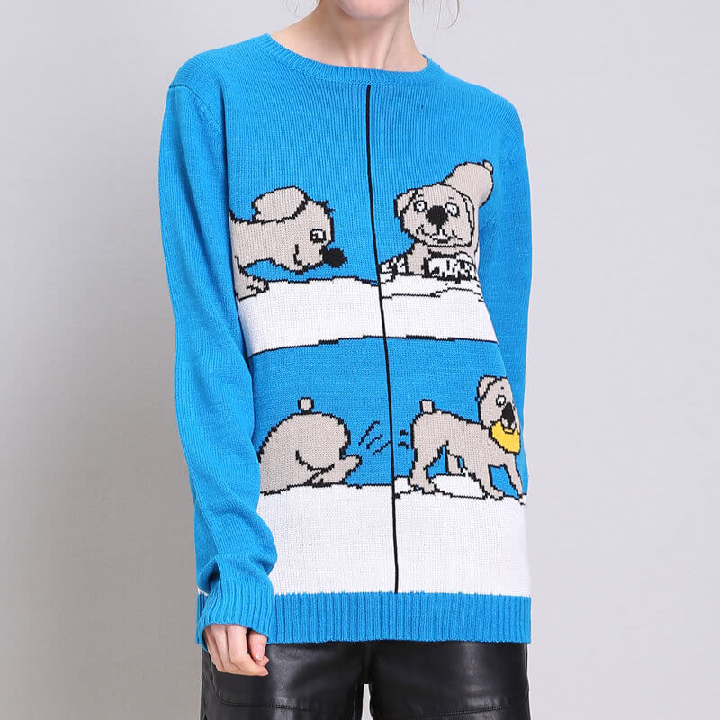 Christmas Blue Cartoon Print Sweater