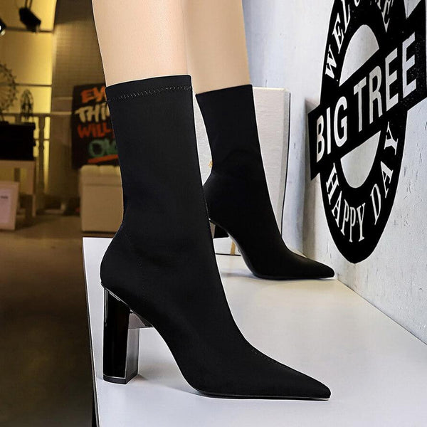 Sexy Point Toe Stretch Lycra High Chunky Heel Calf Boots