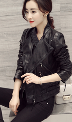 Black Oblique Zipper Slim Stand Collar Crop Jacket - Oh Yours Fashion - 2
