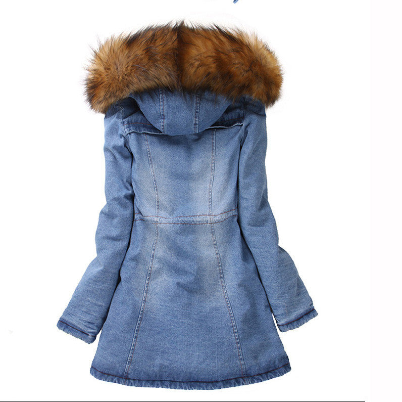 Big Wool Hooded Drawstring Jean Mid-length Cotton Coat - Oh Yours Fashion - 3