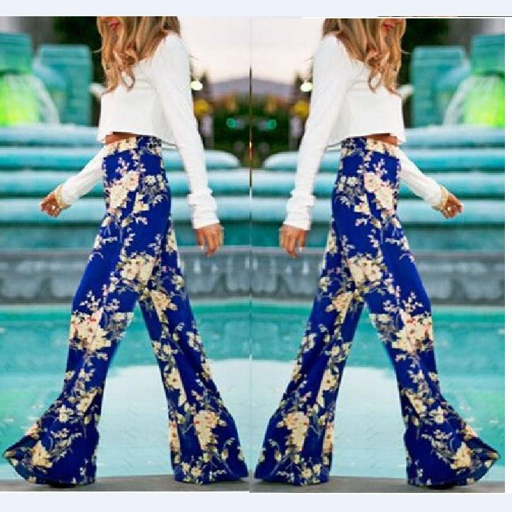 Flower Print Straight Casual High Waist Flared Pants - Meet Yours Fashion - 1