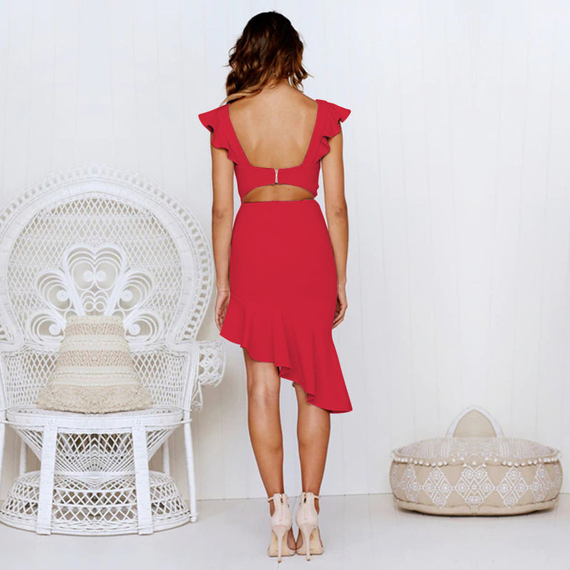 Ruffles V-neck Open Back Irregular Solid Color Women Knee-length Dress