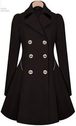Double Button Turn-down collar Slim Plus Size Coat - Oh Yours Fashion - 3
