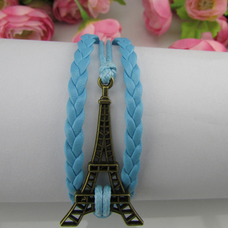 Eiffel Tower Multilayer Leather Woven Bracelet - Oh Yours Fashion