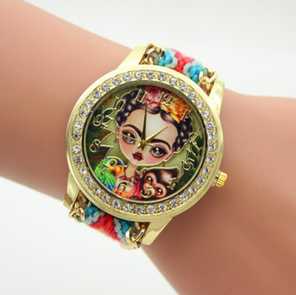 Beauty Girl Print Knitting Wool Strap Watch - Oh Yours Fashion - 3