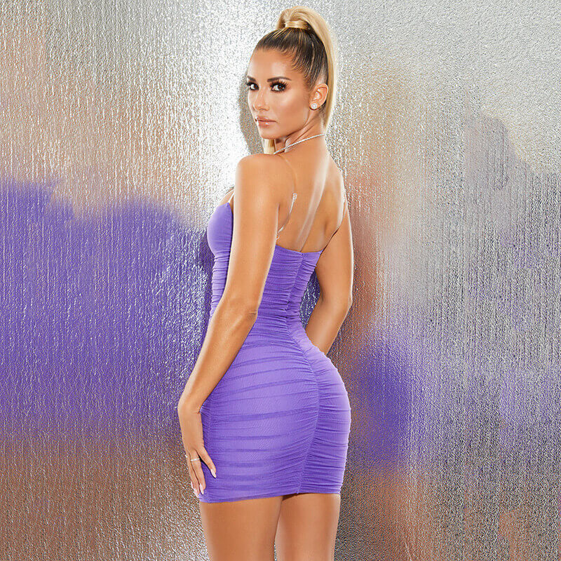 Purple Ruched Bodycon Short Dress