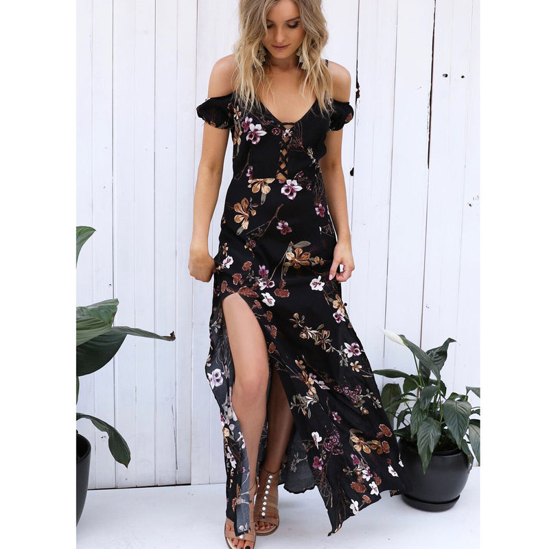Spaghetti Strap V-neck Bear Shoulder Floral Print Split Long Dress