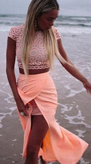 Scoop Lace Crop Top Split Long Skirt Dress Suit - Oh Yours Fashion - 2