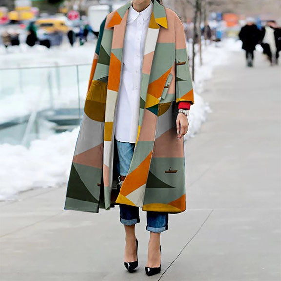 Loose Geometric Print Over Coat