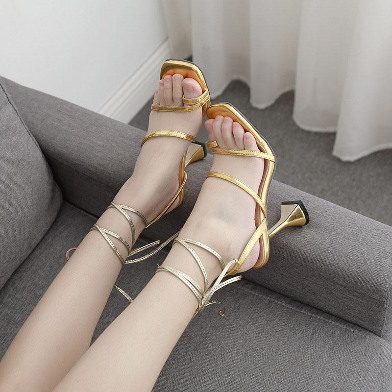 Summer PU Bandge High Heel Square Toe Sandals