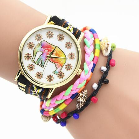 Elephant Print Colorful Strap Watch - Oh Yours Fashion - 5