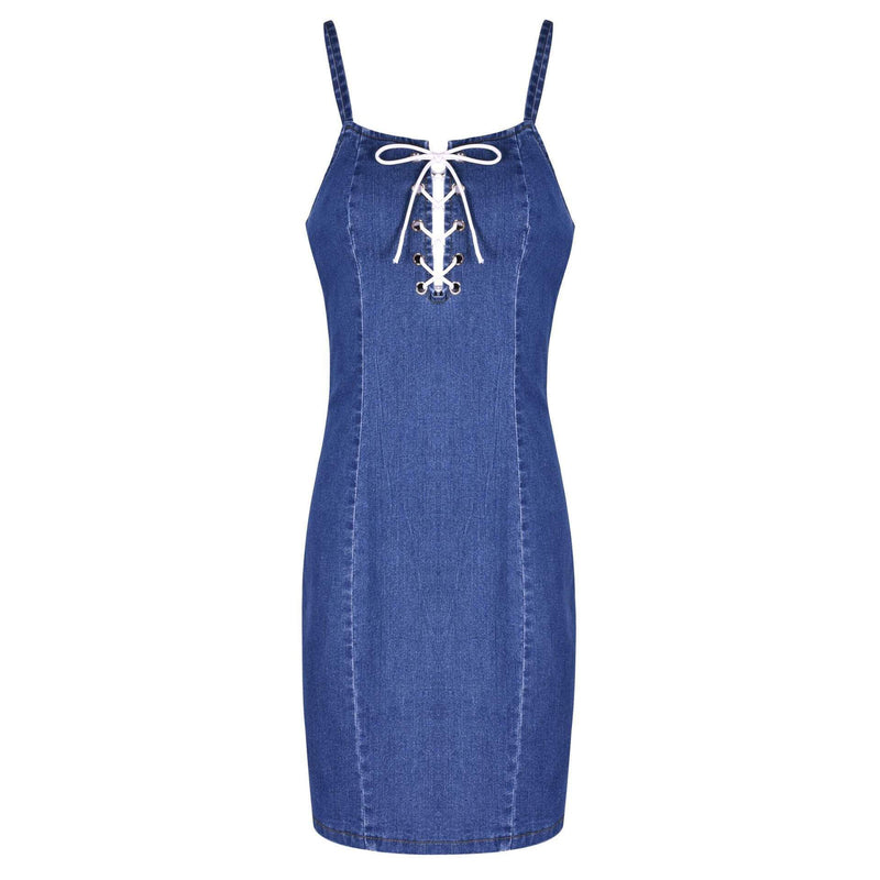 Sexy Off Shoulder Bandage Spaghetti Strap Sheath Denim Dress