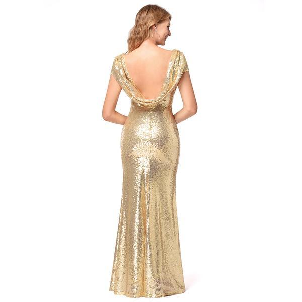 High Quality Shinning Backless Sequined Long Party Bridesmaid Dress