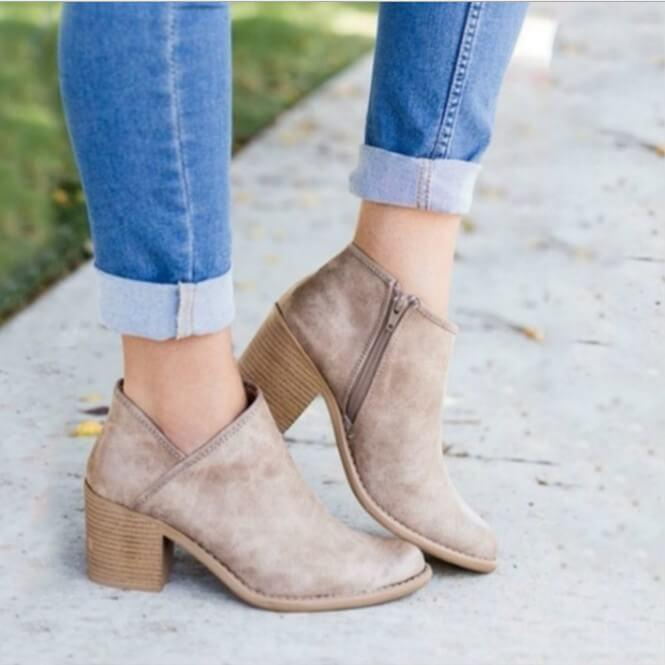 Leather Pointed Toe Chunky Heel Ankle Boots