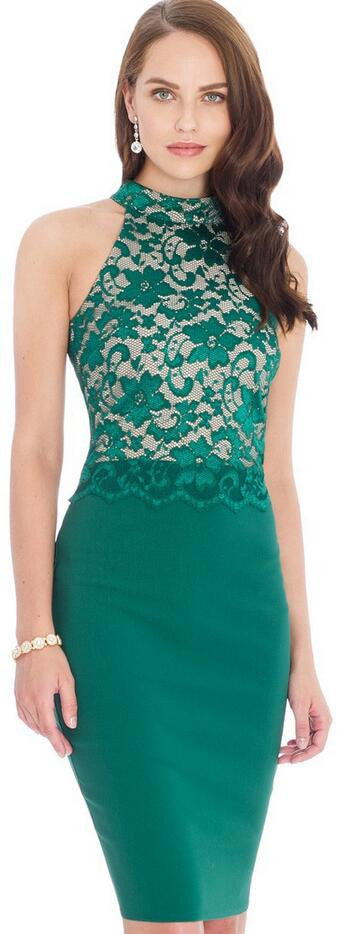 Sexy Sleeveless Lace Patchwork Bodycon Knee-Length Pencil Dress - Oh Yours Fashion - 1