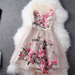 Charming Flower Embroidery Short Skater Dress - Oh Yours Fashion - 3