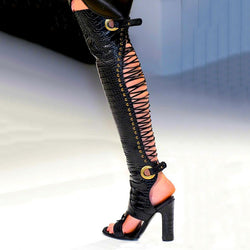 Leather Cutout Open Toe High Heel Over Knee Boots