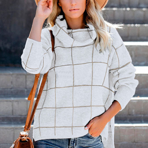 Loose Turtleneck Plaid Low High Pullover Sweater