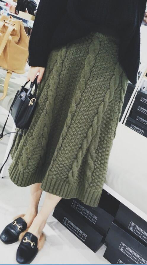 Winter A-line Pure Color Braid Knit Long Skirt - Oh Yours Fashion - 1