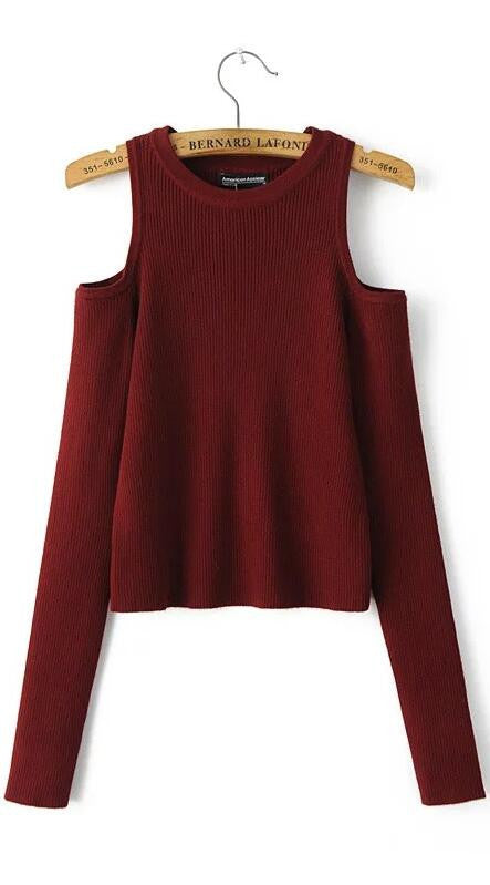 Dew Shoulder Thread Long Sleeve Short Sweater - Oh Yours Fashion - 2