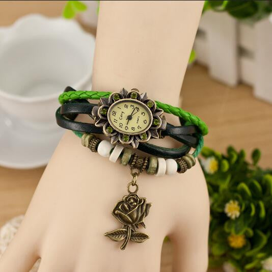 Retro Style Rose Pendant Multilayer Watch - Oh Yours Fashion - 3