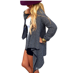 Asymmetric Wave Cardigan Loose Knit Long Sleeve - Oh Yours Fashion - 1
