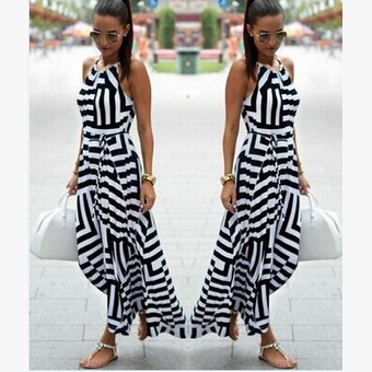 Stripe Spaghetti Strap O-neck Irregular Sleeveless Long Dress - Oh Yours Fashion - 1