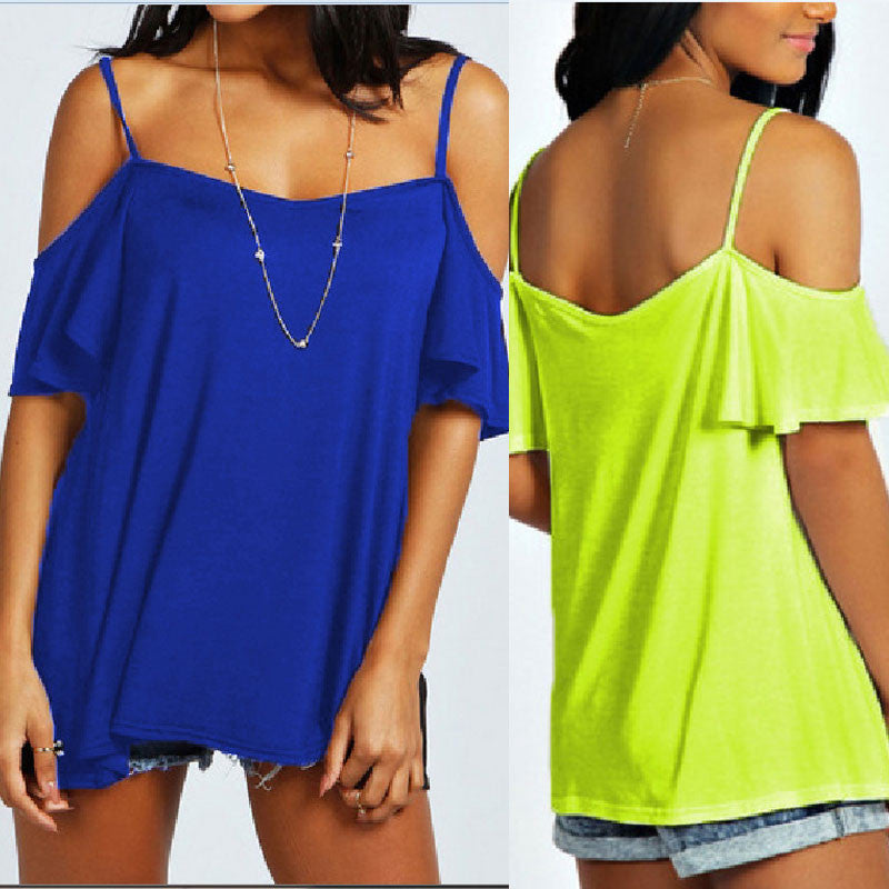 Spaghetti Straps Bear Shoulder Candy Color Loose Blouse - Oh Yours Fashion - 1