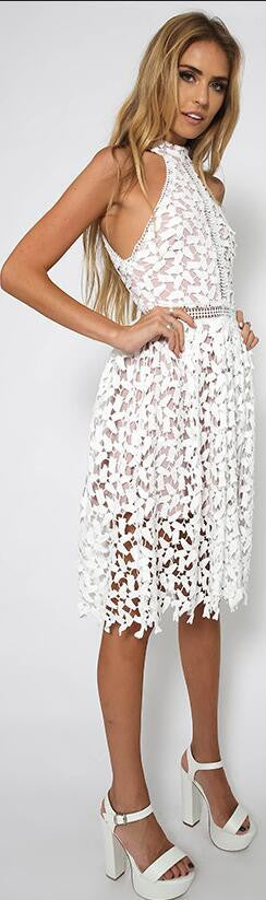 Sexy White Patchwork Lace Sleeveless Dress - Oh Yours Fashion - 2