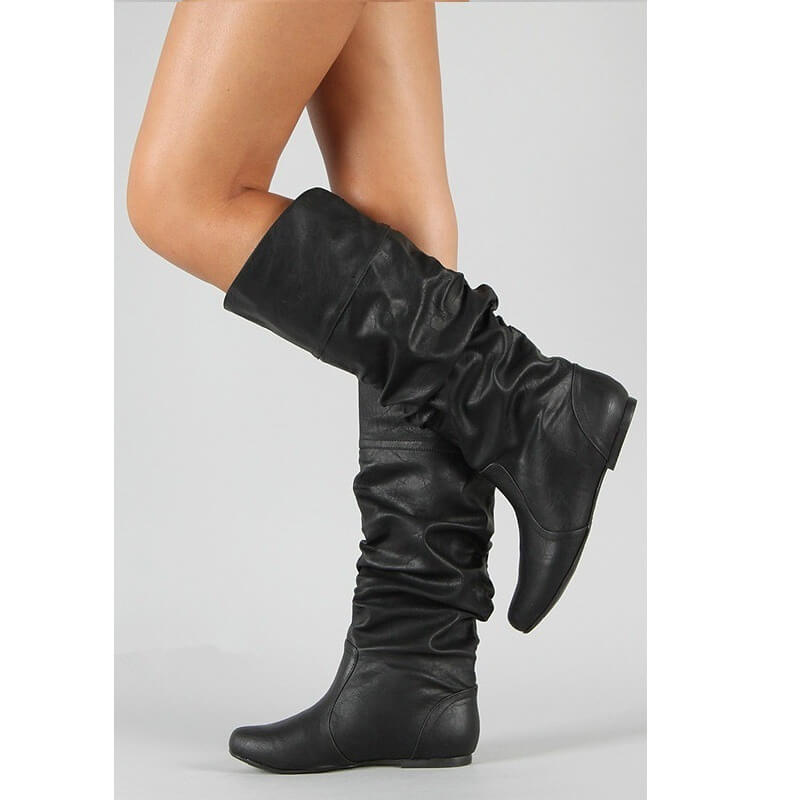 Leather Mid Calf Fold Flat Boots