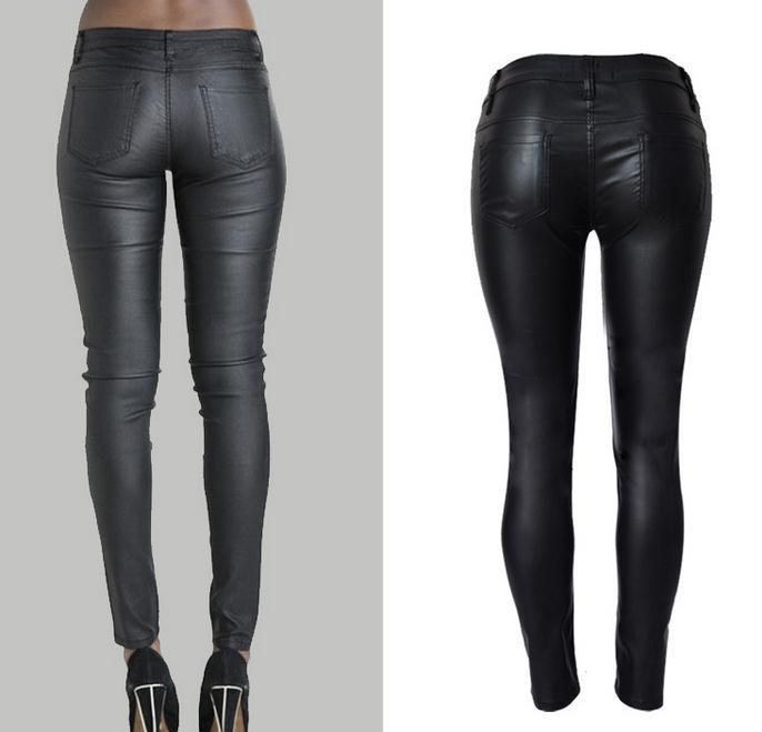 Low Waist Double Zipper Button Slim PU Leather Pants - Meet Yours Fashion - 5