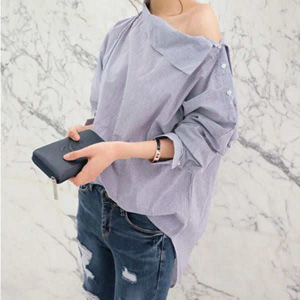 One Shoulder Striped Long Bat-wing Sleeves Blouse
